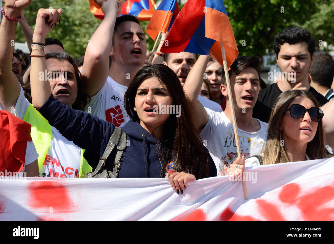 Marseille, France. 24th Apr, 2015. Centenary of Armenian Genocide. Up to 6000 Armenians demonstrate in Marseille, - Stock Image
