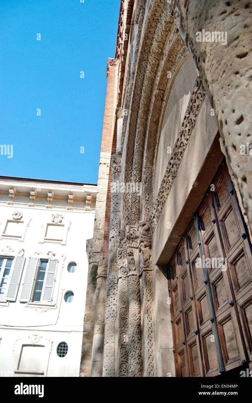 portal of San Pietro in Ciel d'oro, Pavia, italy - Stock Image
