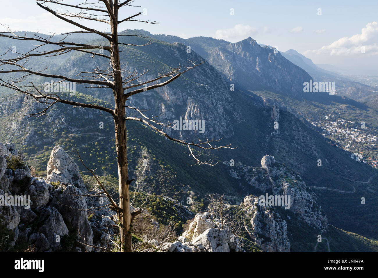 The Kyrenia Mountain Range from St Hilarion Castle, near Girne (Kyrenia), Northern Cyprus - Stock Image