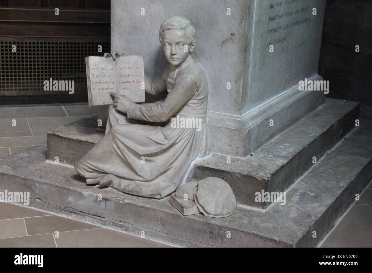 Detail of the the Humphrey Chetham statue which is in Manchester Cathedral - Stock Image