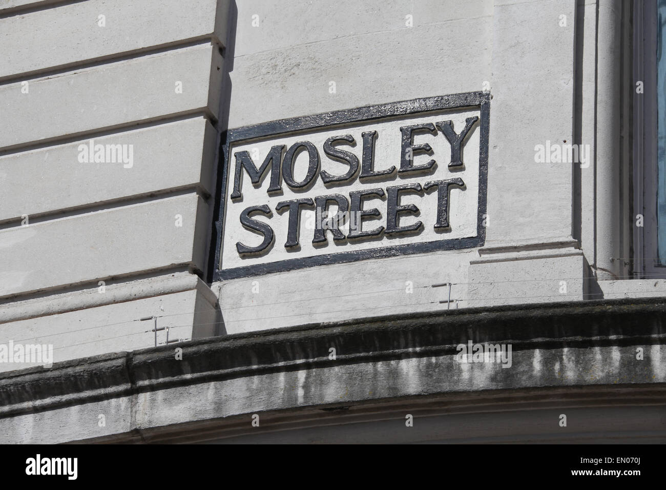Mosley Street Sign in Manchester City Centre - Stock Image