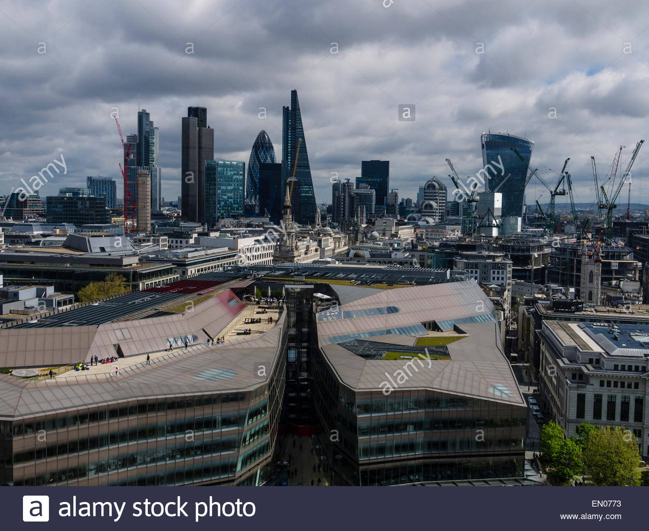 London View from Stone Gallery St Paul's Cathedral Dome England UK - Stock Image