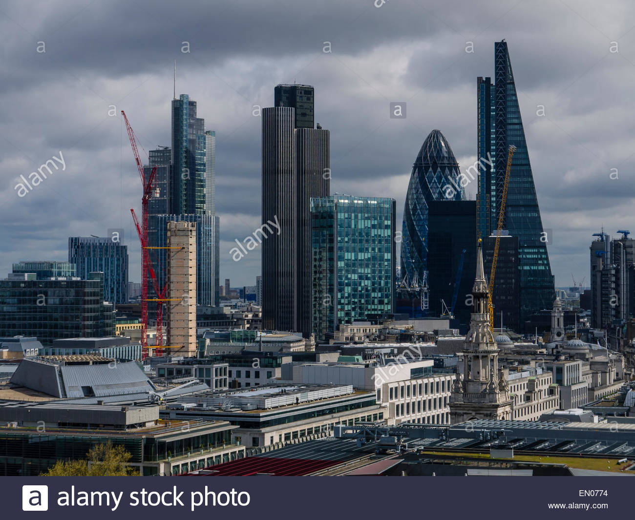London View from Stone Gallery St Paul's Cathedral Dome England UK London - Stock Image