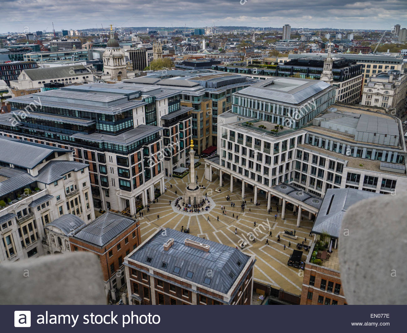 London View from Stone Gallery St Paul's Cathedral Dome of Patermoster Square England UK - Stock Image