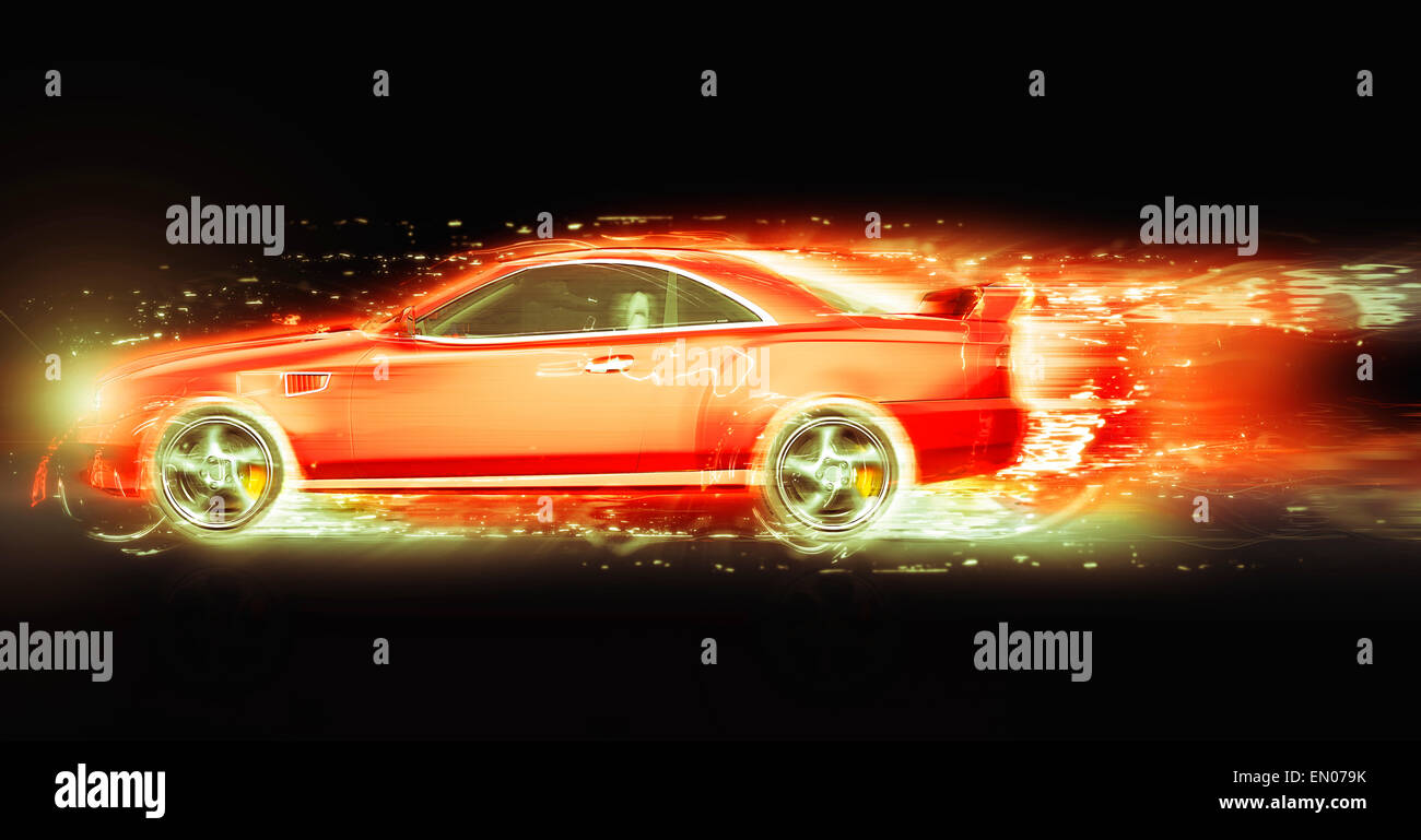 Red sport coupe with light trail - Stock Image