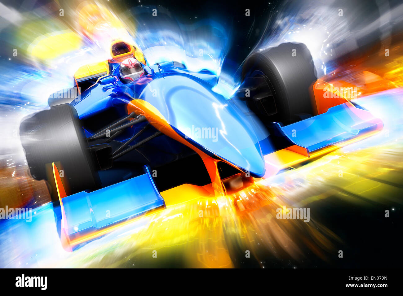 F1 bolide with light effect. Race car with no brand name is designed and modelled by myself - Stock Image