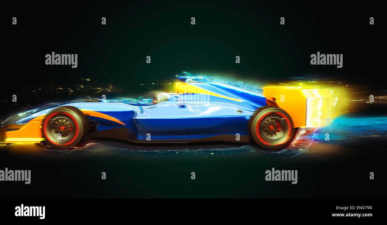 Formula One race car with light trail. Race car with no brand name is designed and modelled by myself - Stock Image