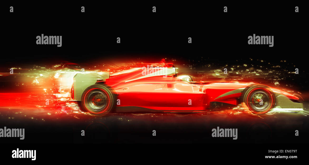 Formula One race car with light effect. Race car with no brand name is designed and modelled by myself - Stock Image