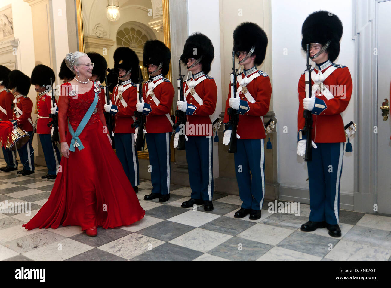 Copenhagen, Denmark, April15th, 2015. H. M. Queen Margrethe inspects the Royal Guard as she arrives to Christiansborg - Stock Image