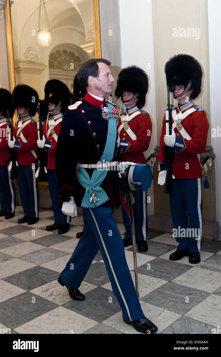 Copenhagen, Denmark, April15th, 2015. H. R. H. Prince Joachim arrive to Christiansborg for participating in the - Stock Image