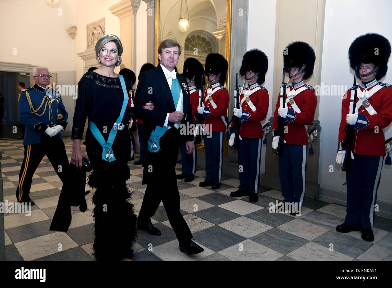 Copenhagen, Denmark, April15th, 2015. H. M. Dutch King Willem-Alexander and Queen Maxima arrive to Christiansborg - Stock Image