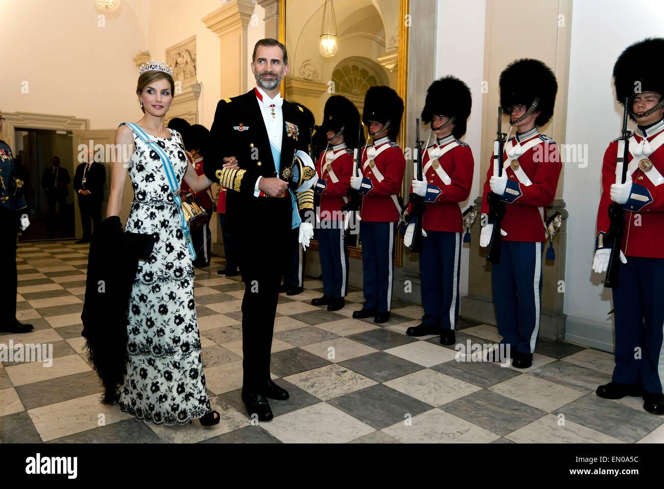 Copenhagen, Denmark, April15th, 2015. H. M. Spanish King Felipe and Queen Letizia arrive to Christiansborg for participating - Stock Image