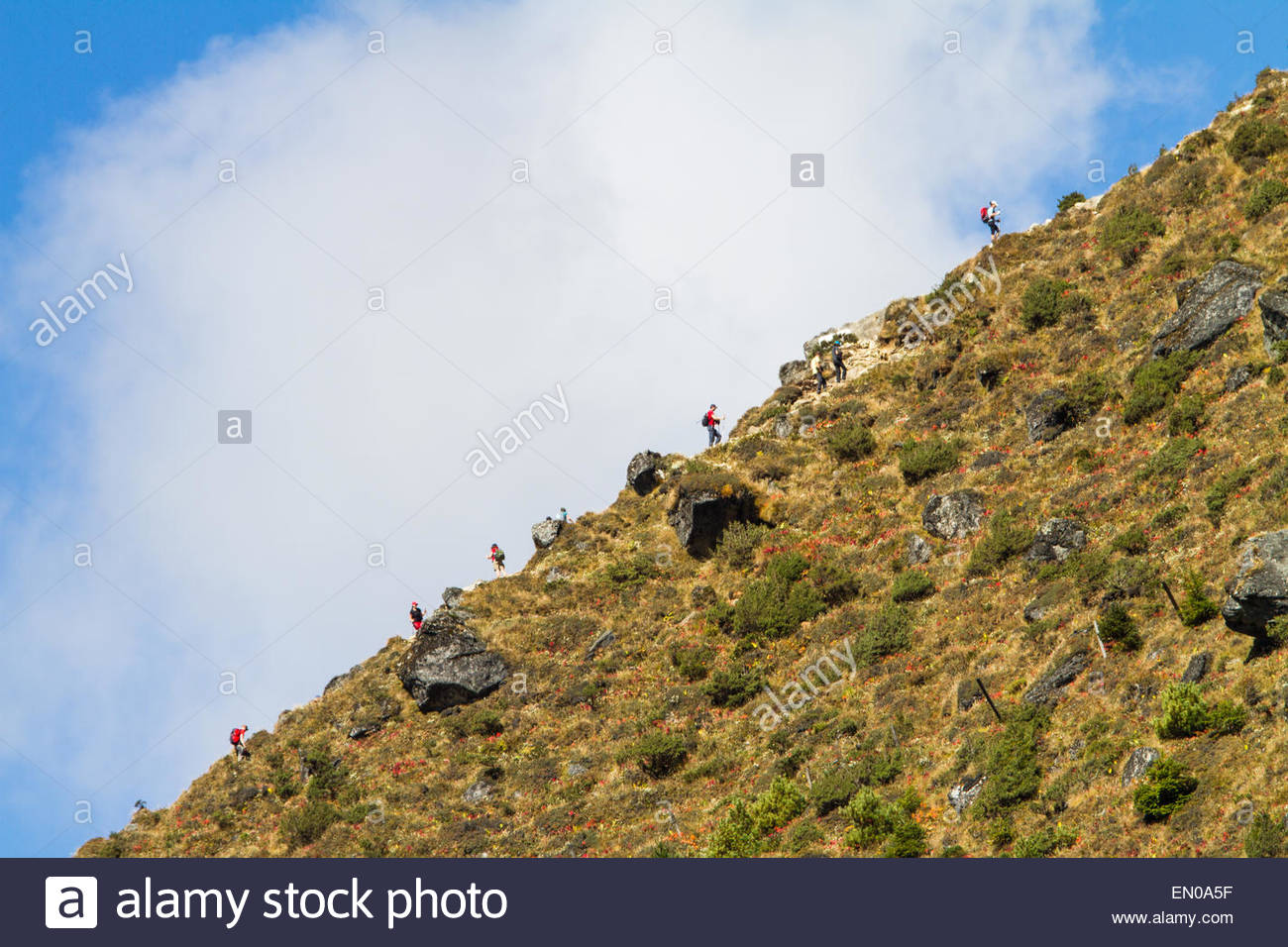 Trekkers in Nepal's Himalayas are seen along an uphill ridgeline against a sky of blue and a large white cloud - Stock Image