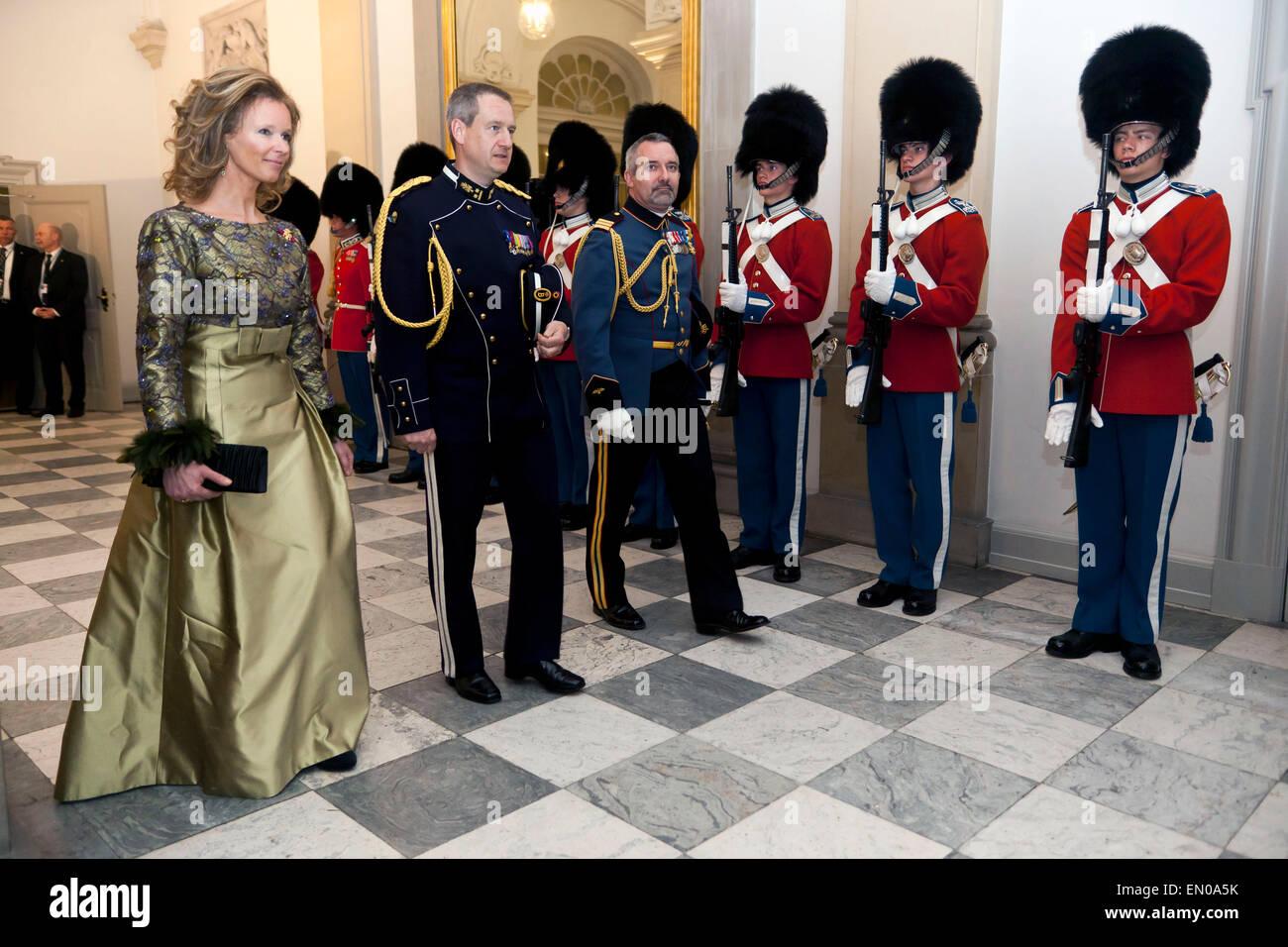 Copenhagen, Denmark, April15th, 2015. H. M. Belgian King Philippe  and Queen Mathilde arrive to Christiansborg for - Stock Image