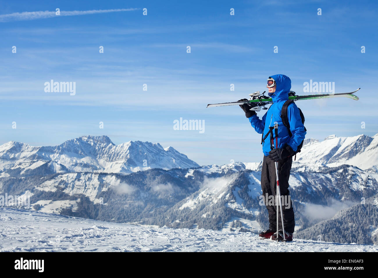 freestyle skiing in Alpine mountains - Stock Image