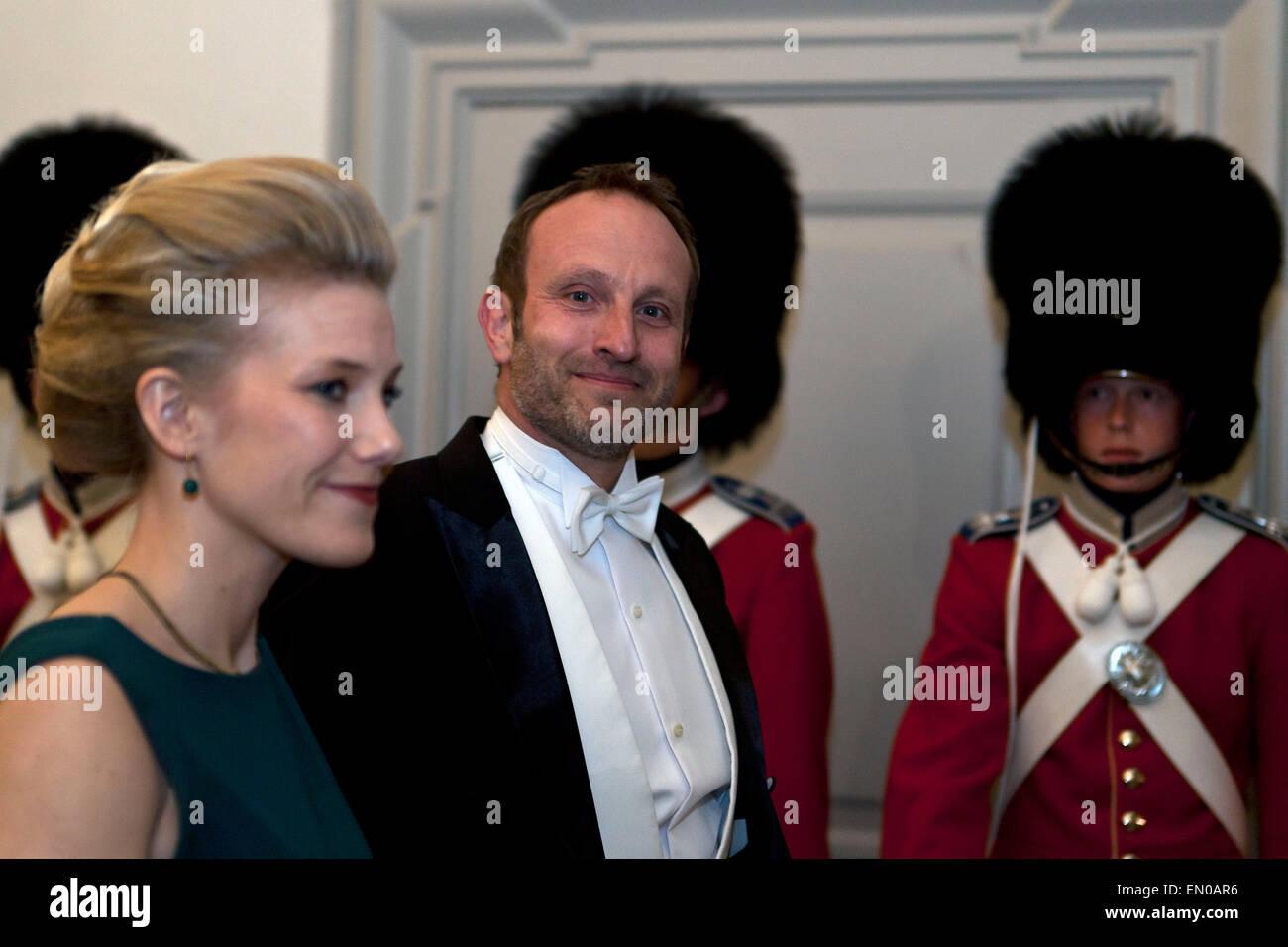 Copenhagen, Denmark, April15th, 2015. Foreign Minister, Mr. Martin Lidegaard and wife, arrive to Christiansborg - Stock Image