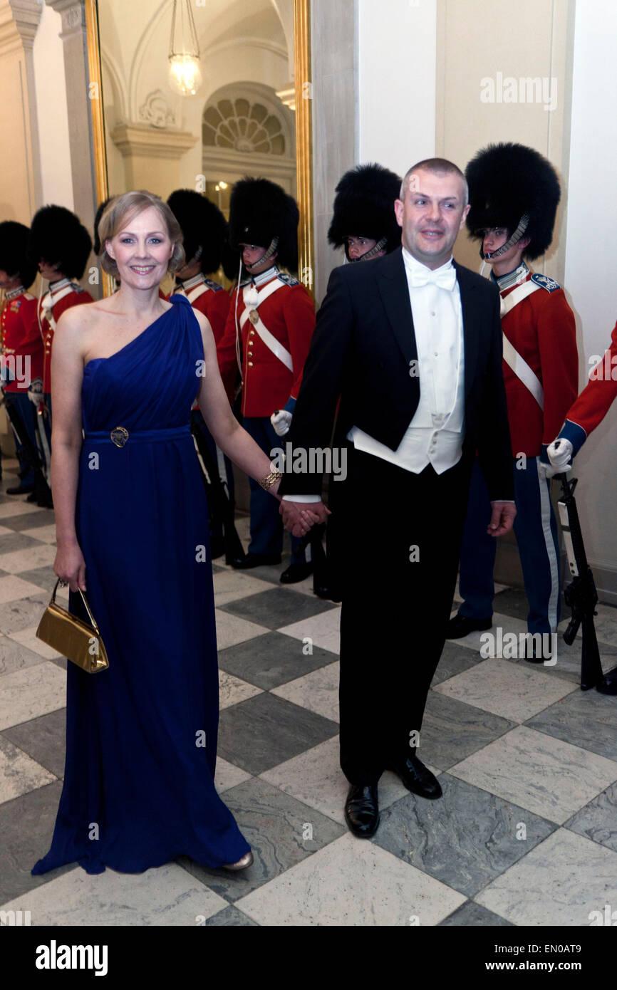 Copenhagen, Denmark, April15th, 2015. Minister of Finance, Mr. Bjarne Corydon and wife, arrive to Christiansborg - Stock Image