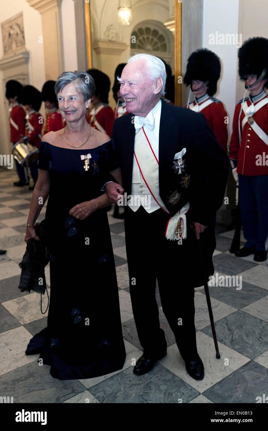 Copenhagen, Denmark, April15th, 2015. Former Prime Minister, Mr. Poul Schlüter and wife, arrive to Christiansborg - Stock Image