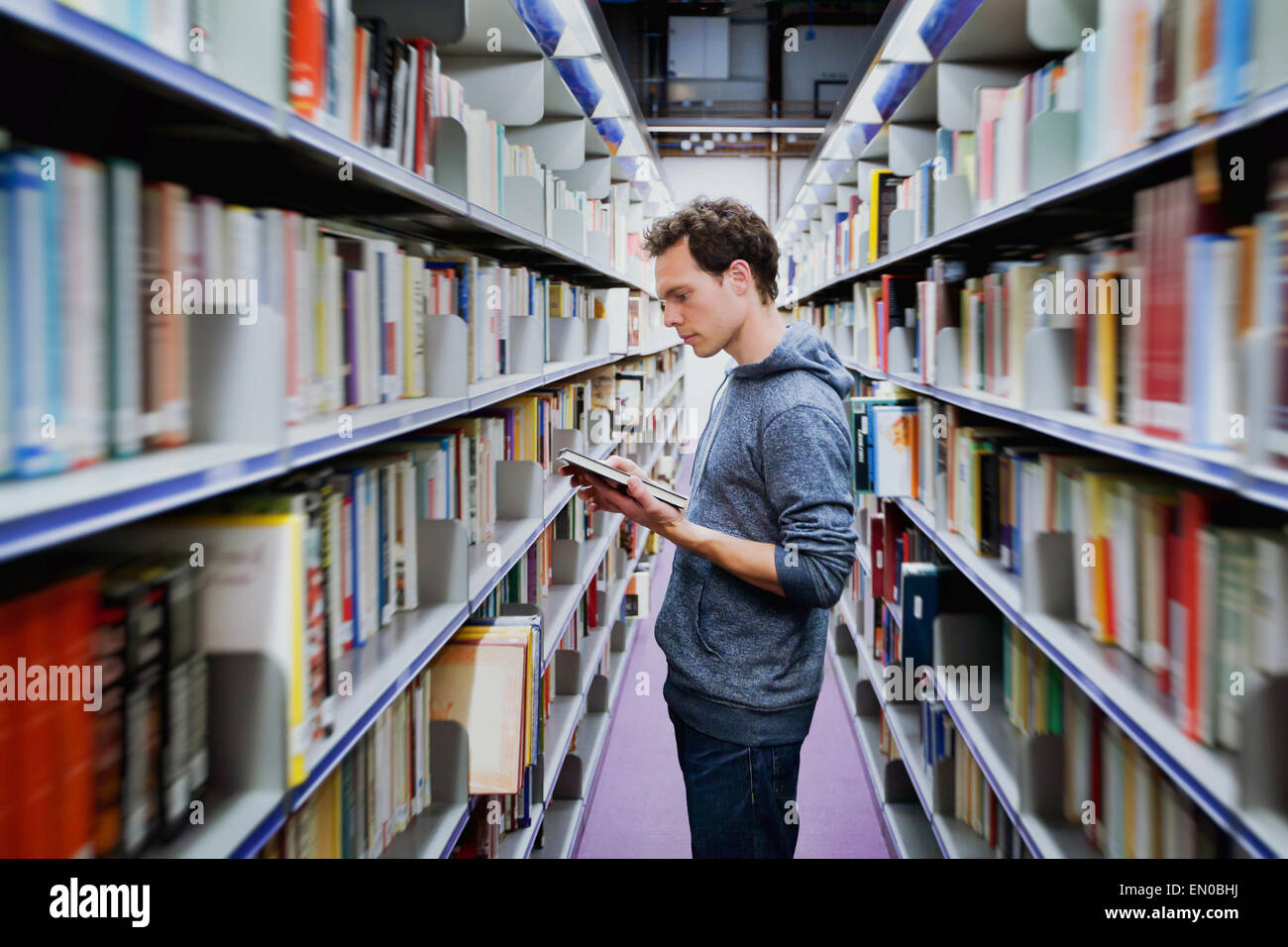 young student reading book between the shelves in the library - Stock Image