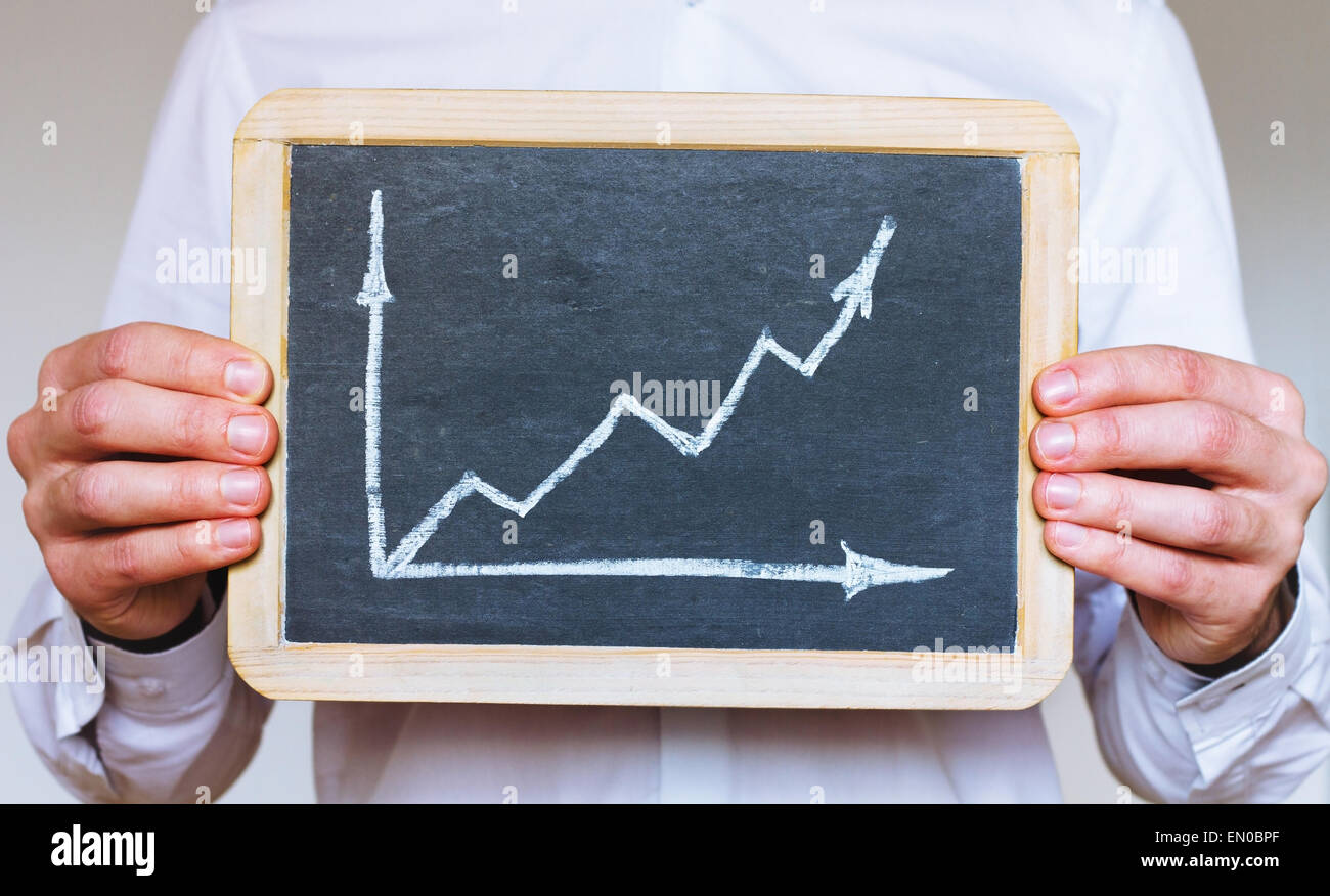 sustainable development infographics, business man holding sign on chalkboard - Stock Image