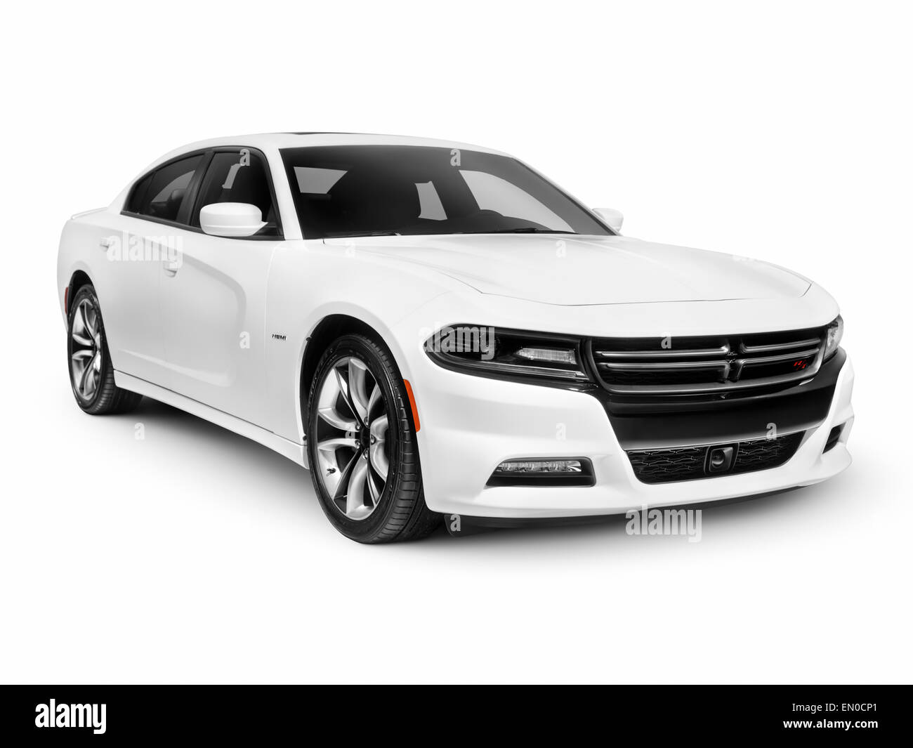 White 2015 Dodge Charger RT Road and Track sports car isolated on white background with clipping path - Stock Image