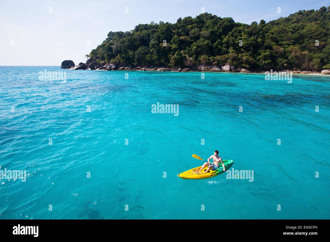 kayaking on paradise beach - Stock Image