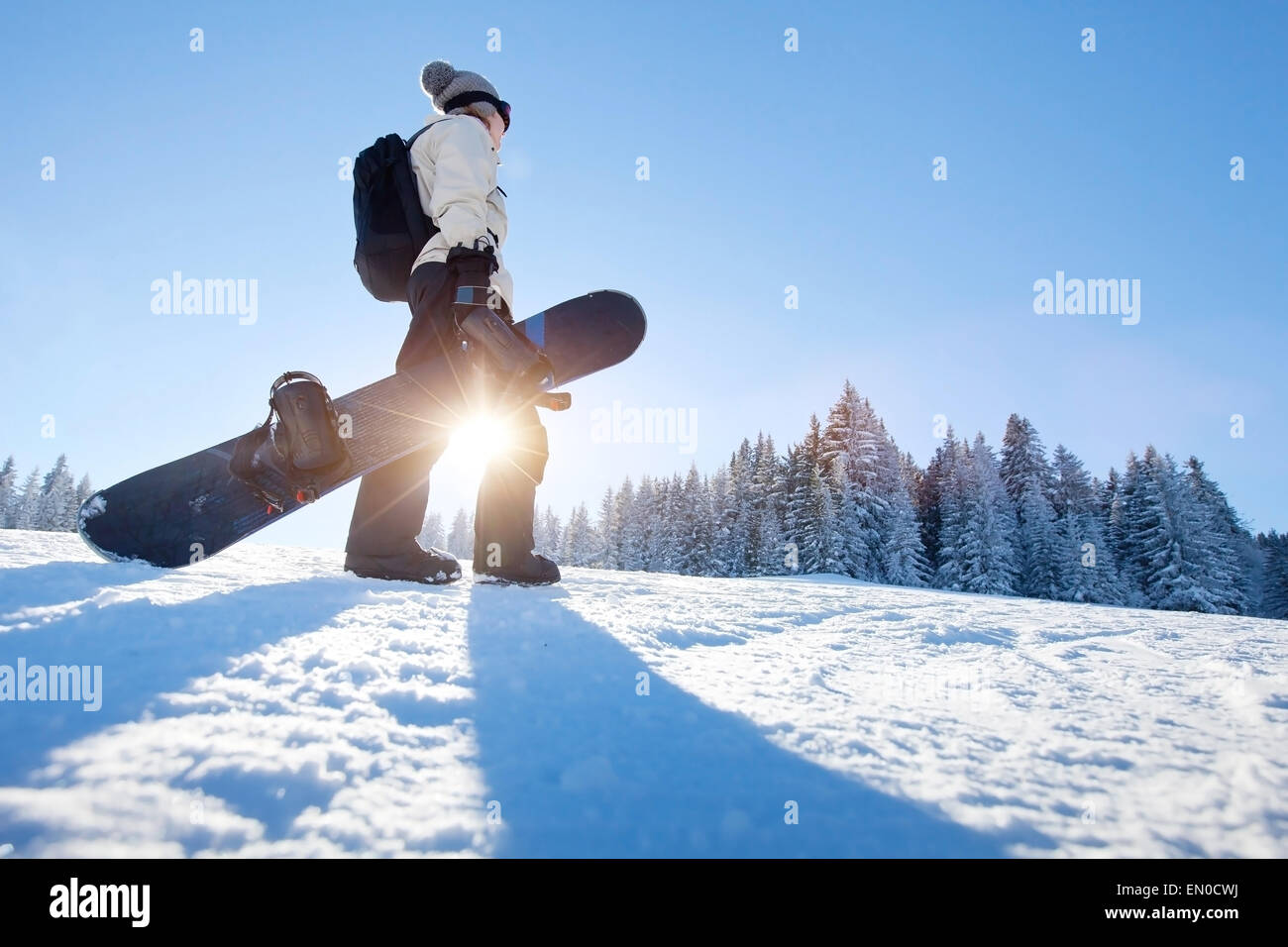 Snowboarding in winter - Stock Image