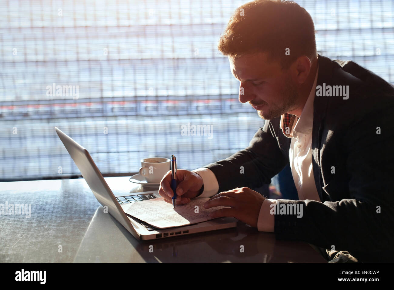 business man working in the office - Stock Image