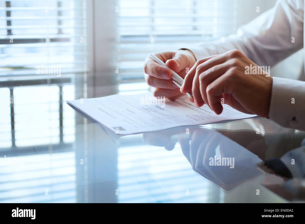 business man before signing contract - Stock Image