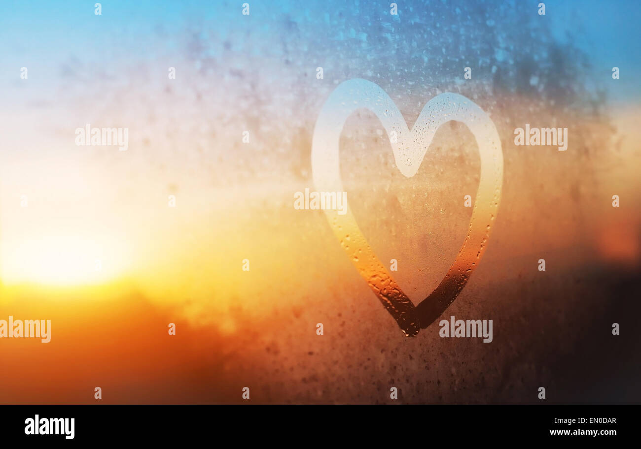 heart on the glass - Stock Image