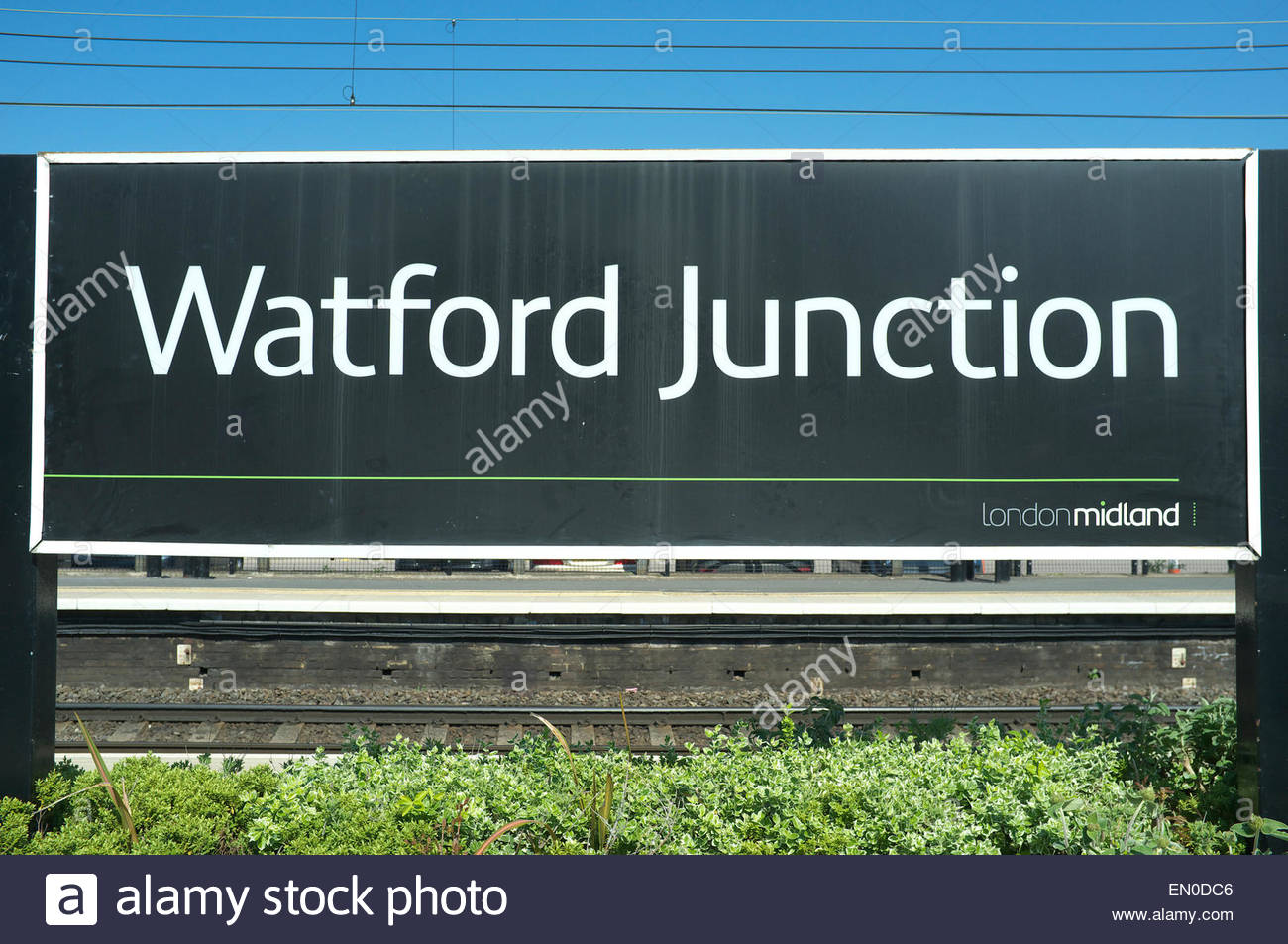 Watford Junction - railway station place name sign. Watford, Hertfordshire, UK. - Stock Image