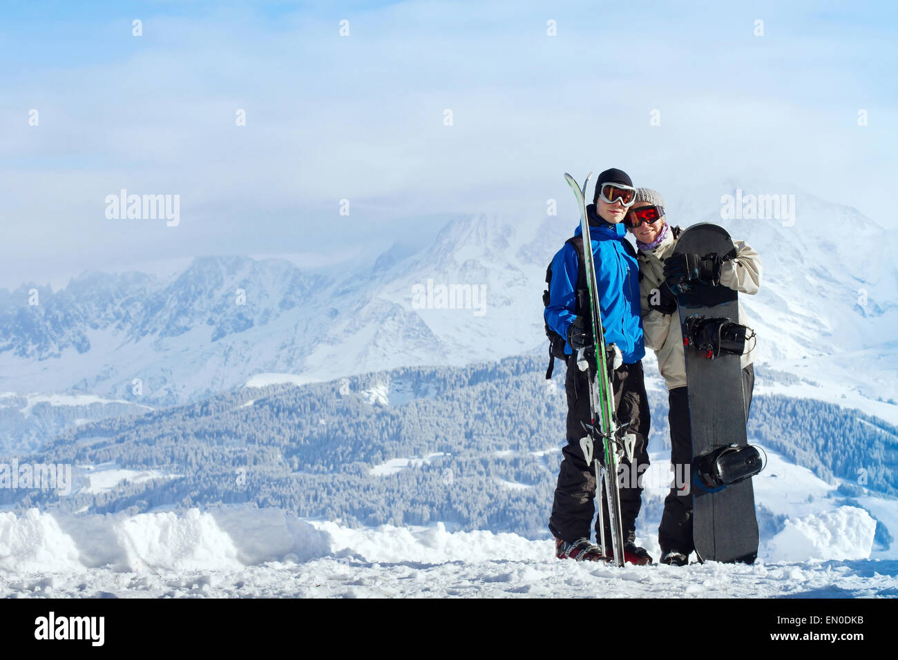 happy young couple at ski vacations - Stock Image