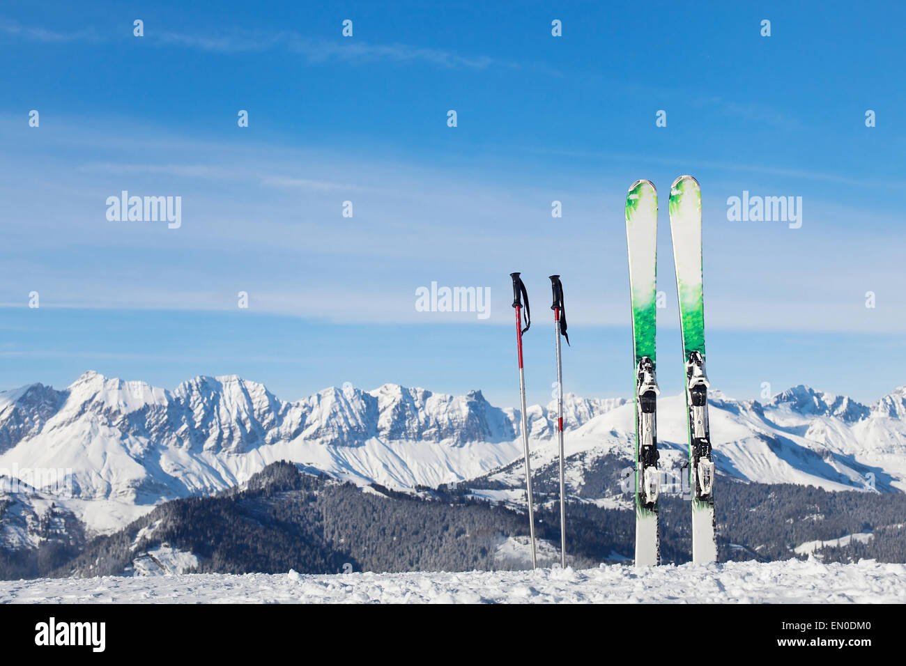 skiing in Alps, ready for winter vacations Stock Photo