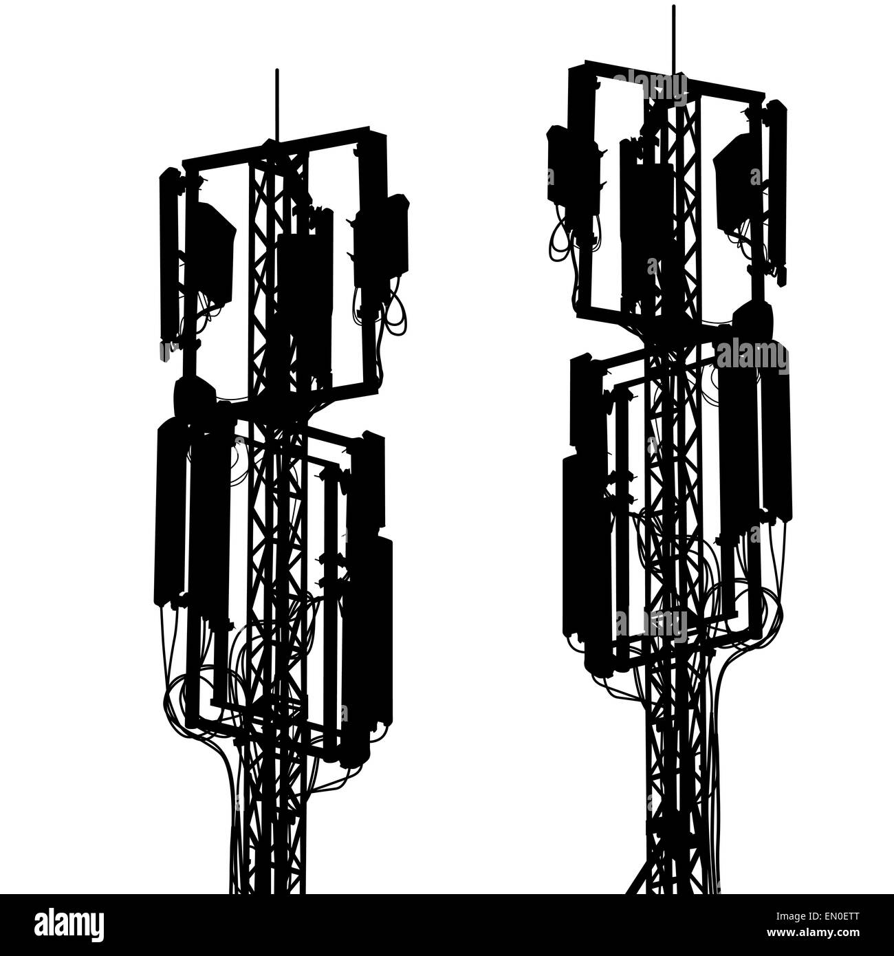 Silhouette mast antenna mobile communications. Vector illustrati - Stock Image
