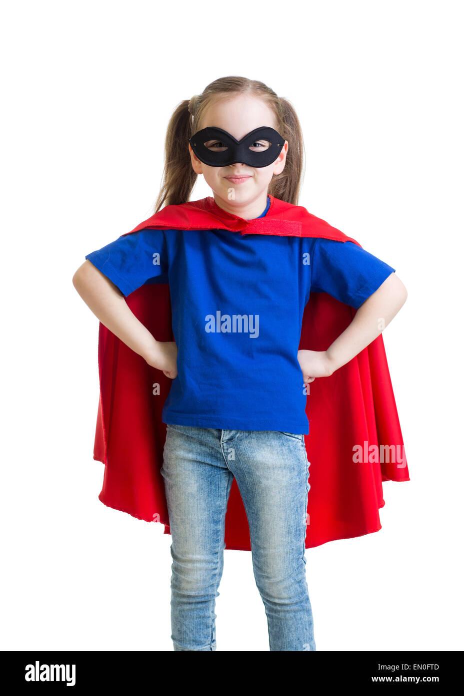 Child girl pretending to be a superhero - Stock Image