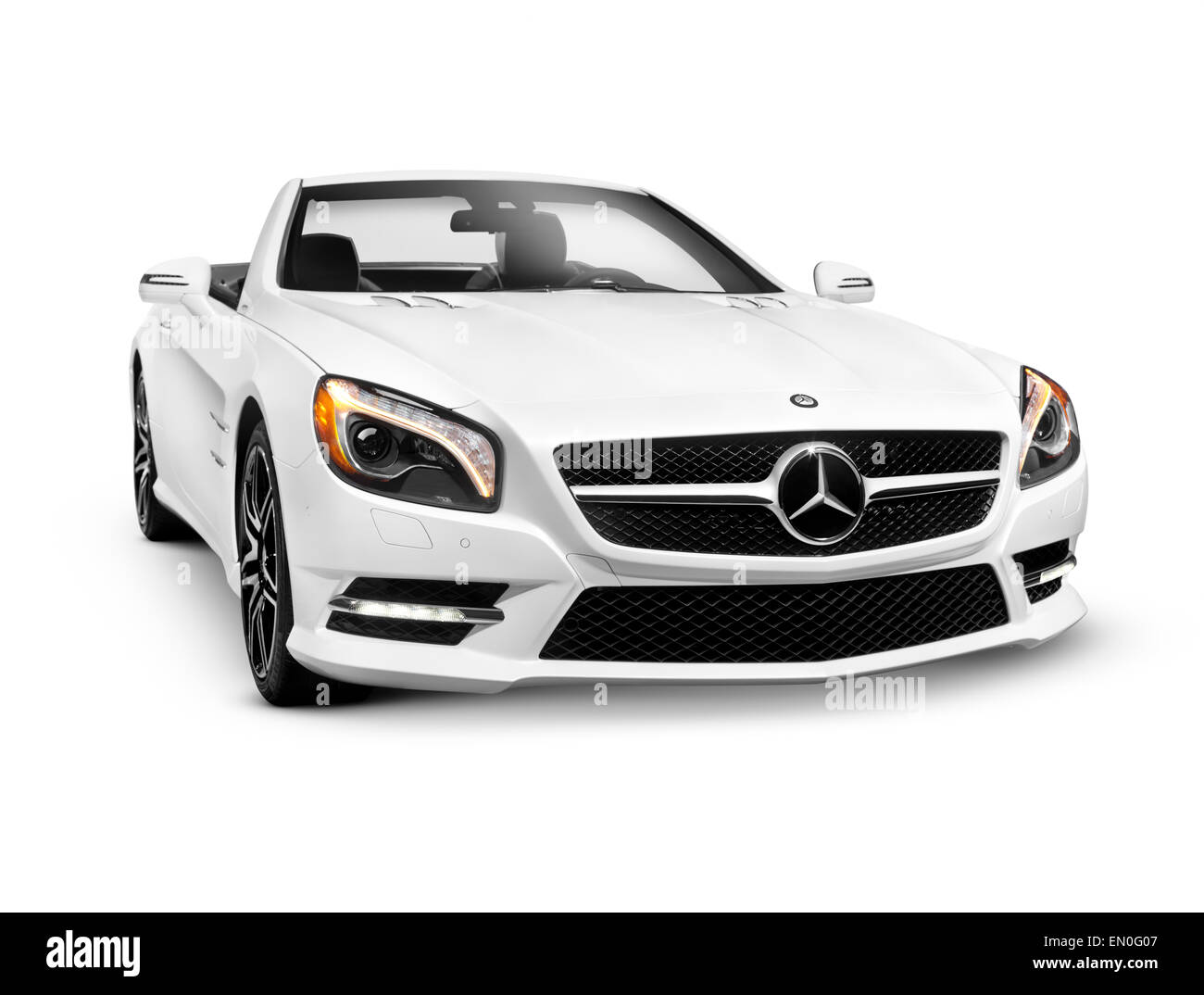 White 2015 Mercedes-Benz SL550 Roadster convertible 2LOOK Edition luxury car isolated on white background with clipping - Stock Image