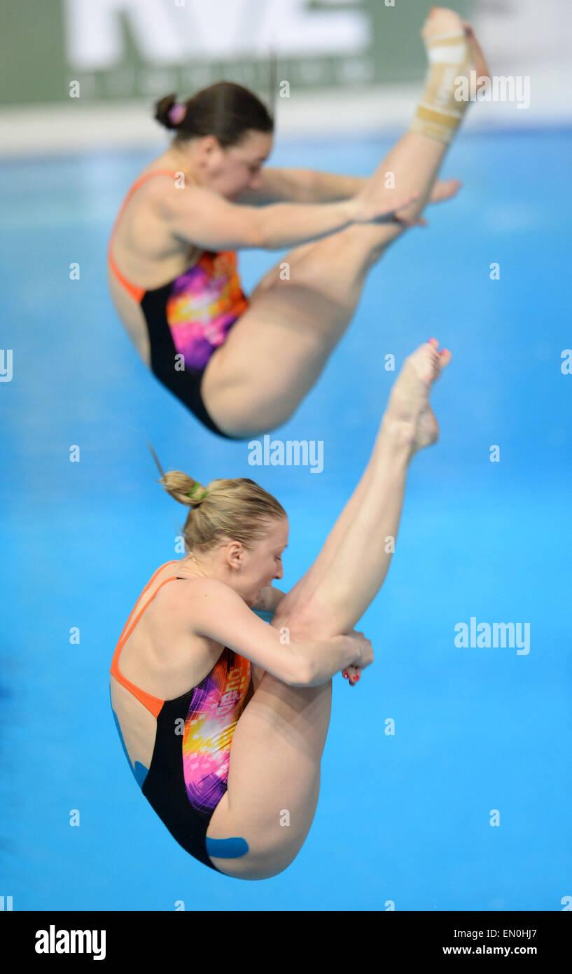 Kazan, Russia. 24th Apr, 2015. Viktoriya Kesar and Anastasiia Nedobiga of Ukraine compete during the women's - Stock Image