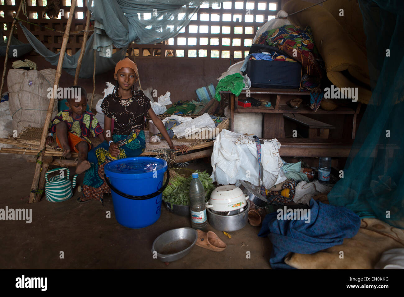 Muslims who have been displaced by violence have taken refuge in a school in Bossangoa in Central African Republic Stock Photo