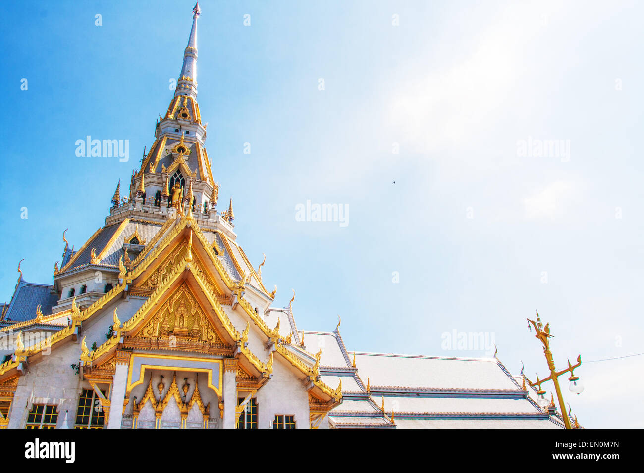 white temple at Wat Sothorn temple, Cha cheung sou Thailand - Stock Image