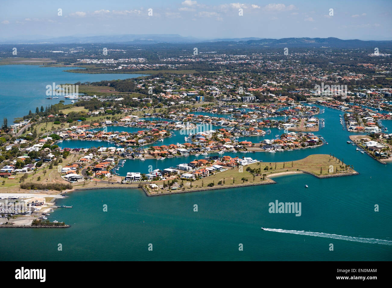 Aerial View of Raby Bay, Cleveland, Brisbane, Australia - Stock Image