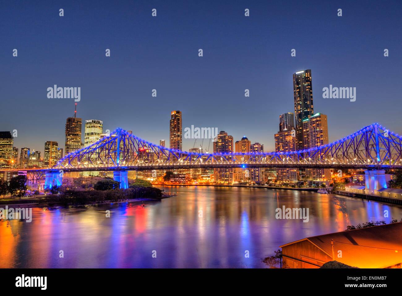 Skyline of Brisbane and Story Bridge, Brisbane, Australia - Stock Image