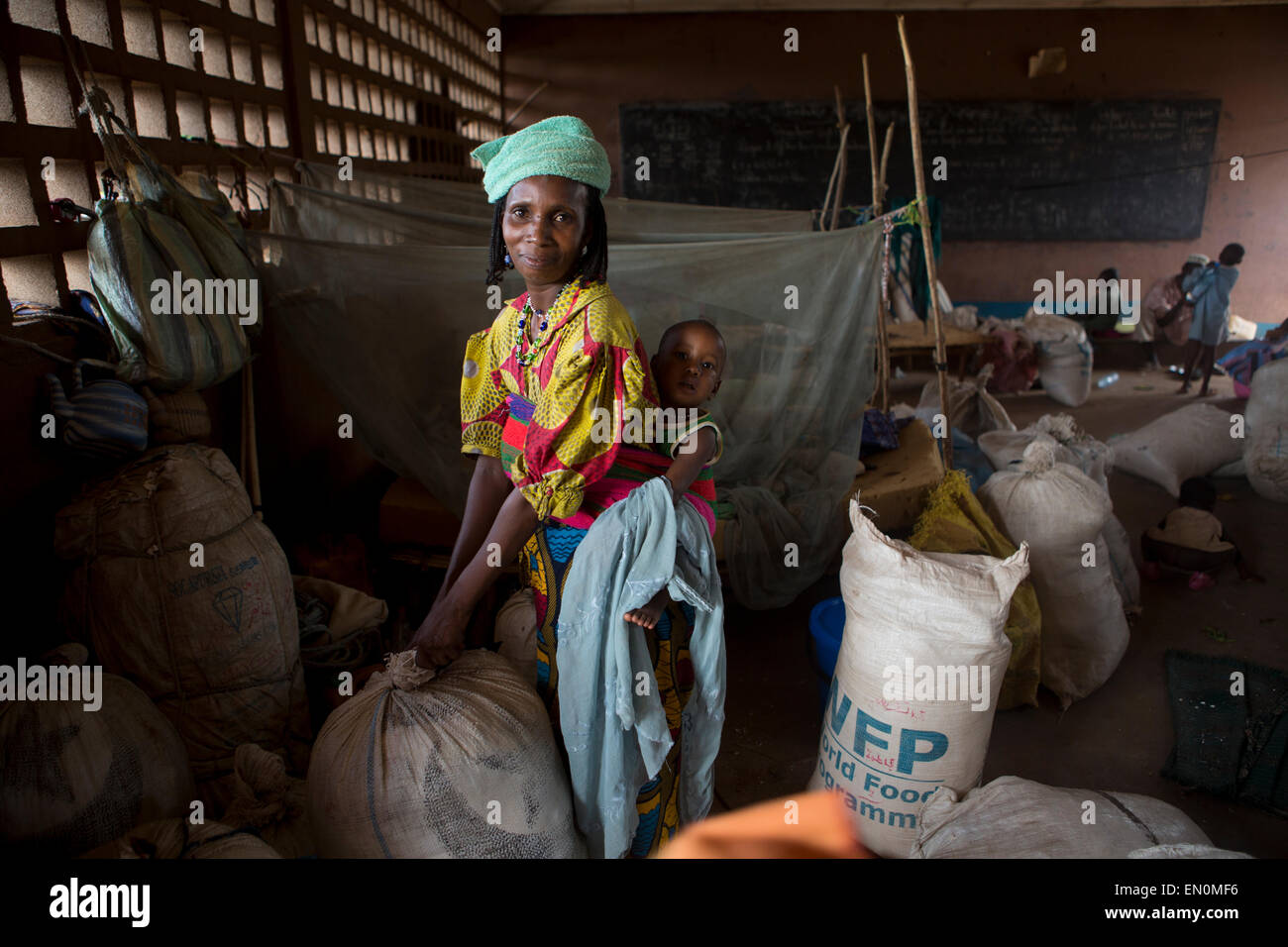 Displaced muslims have taken refuge in a school in CAR Stock Photo