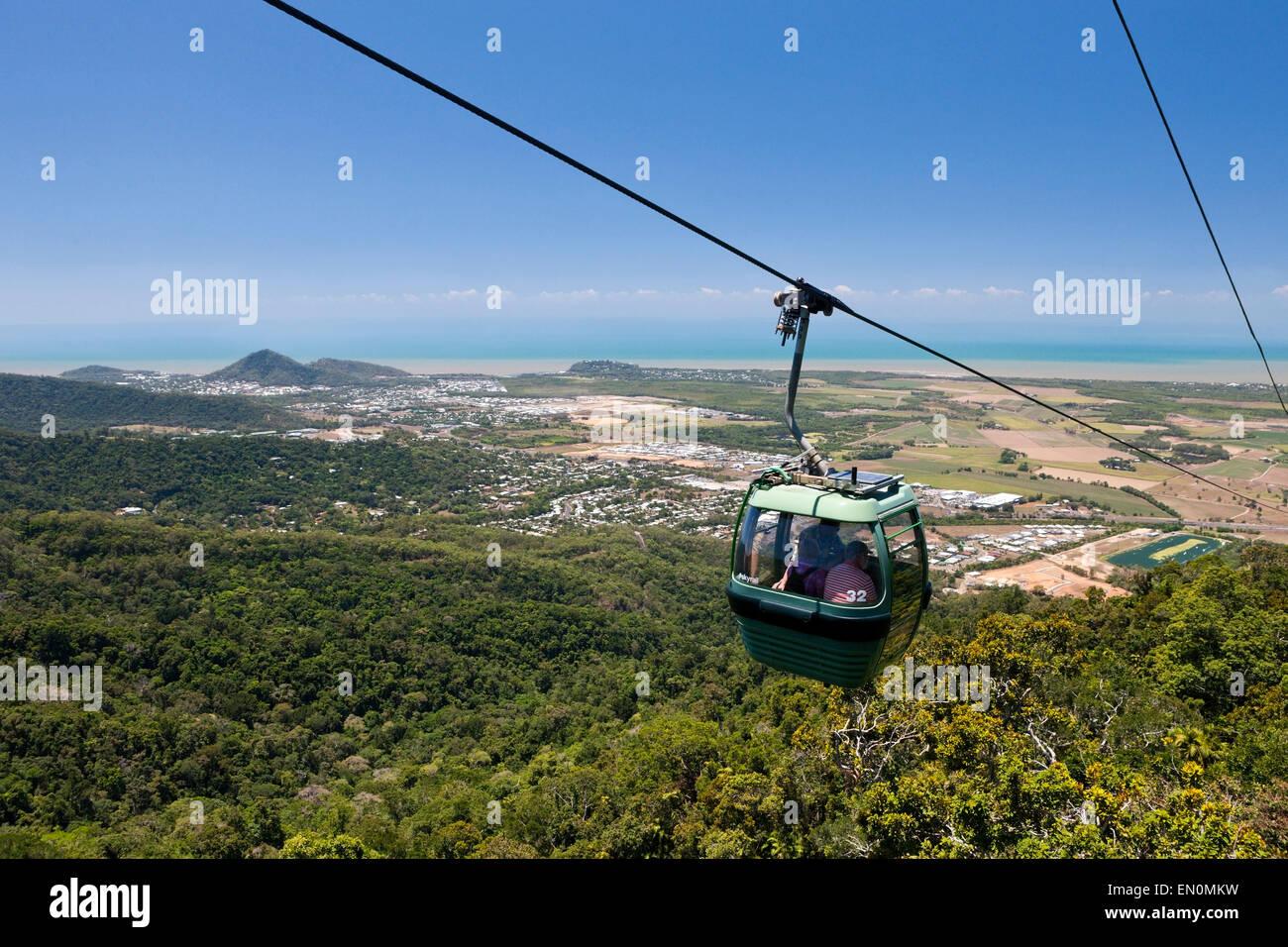 With the Skyrail Rainforest Cableway to Kuranda, Cairns, Australia - Stock Image