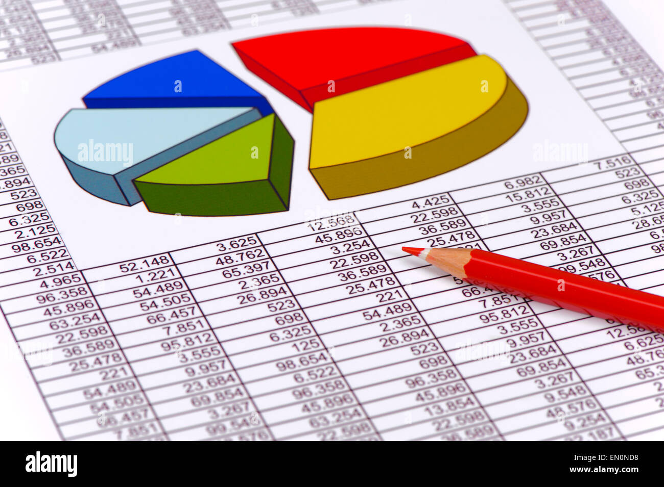 financial chart on table of data Stock Photo