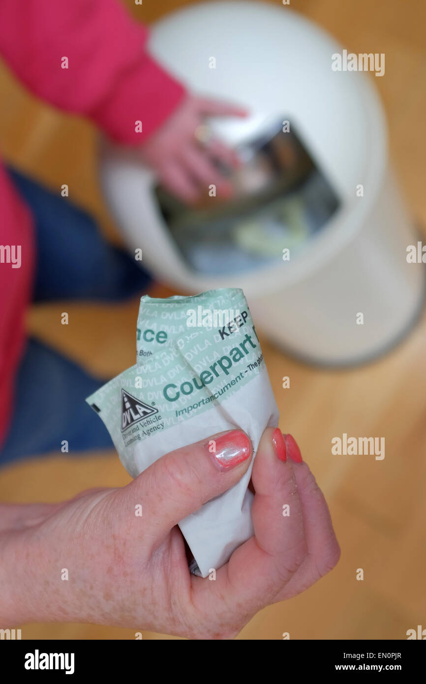 A woman throws the Counterpart UK driving licence in the bin. - Stock Image