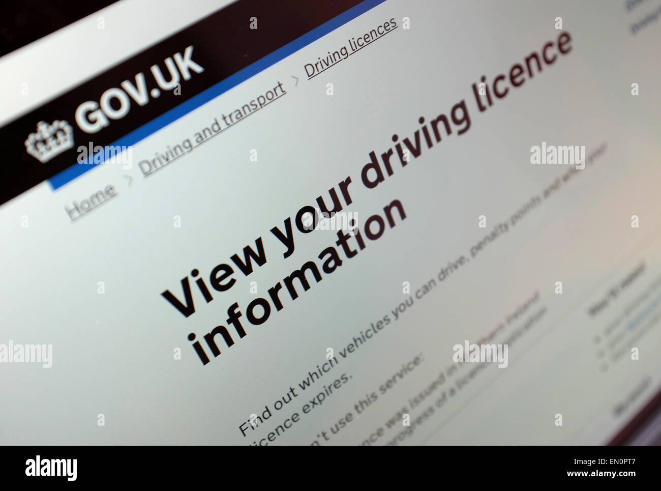 A woman reviews her driving licence online. - Stock Image