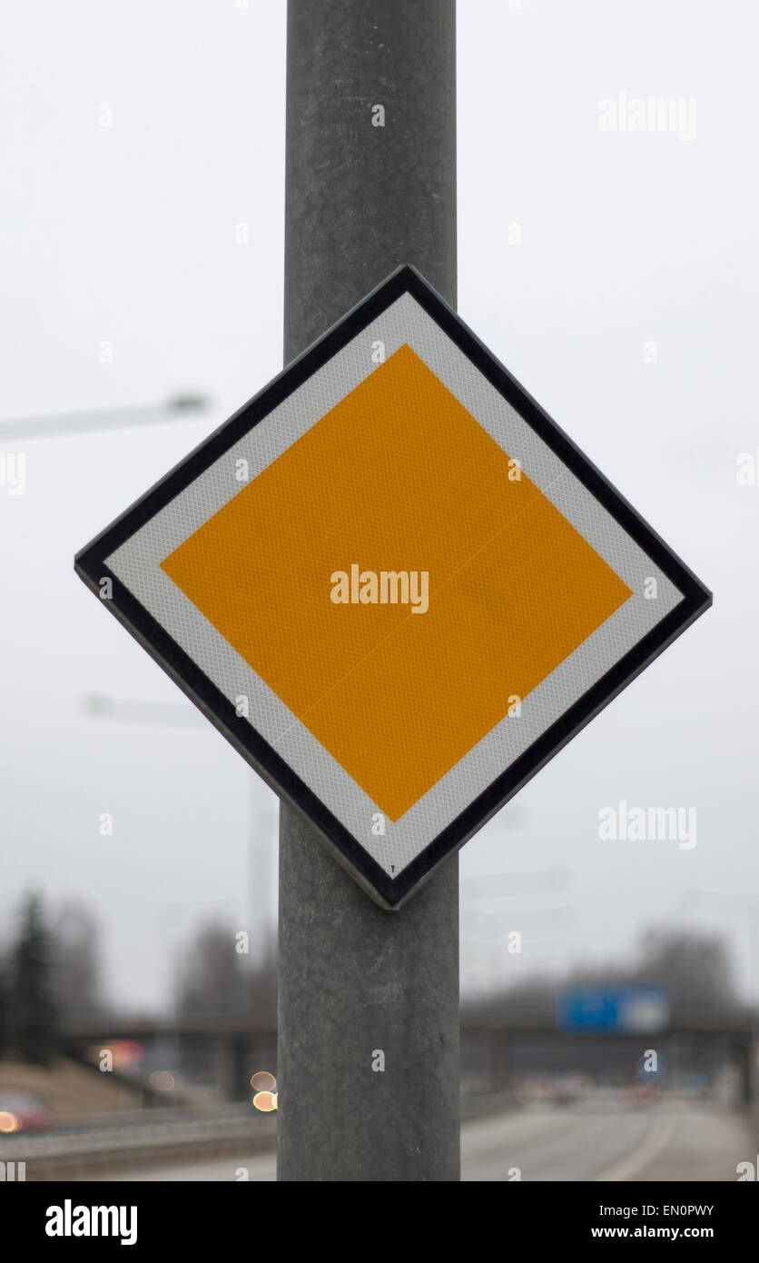 Arterial Road Sign by highway. - Stock Image