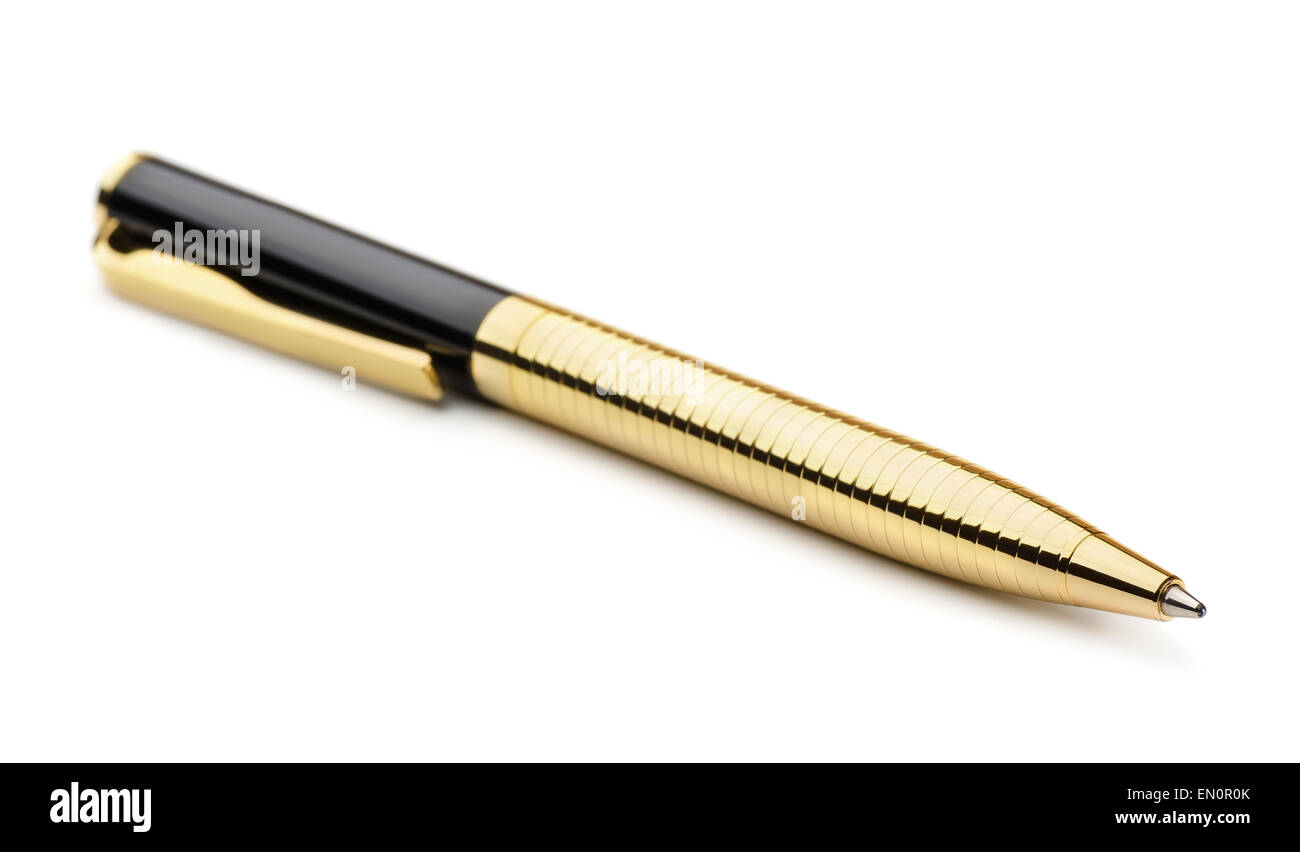 Gold ballpoint pen isolated on white - Stock Image
