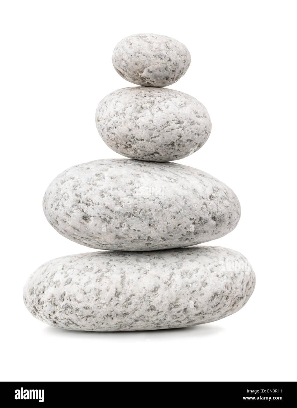 Balanced pebbles isolated on white - Stock Image