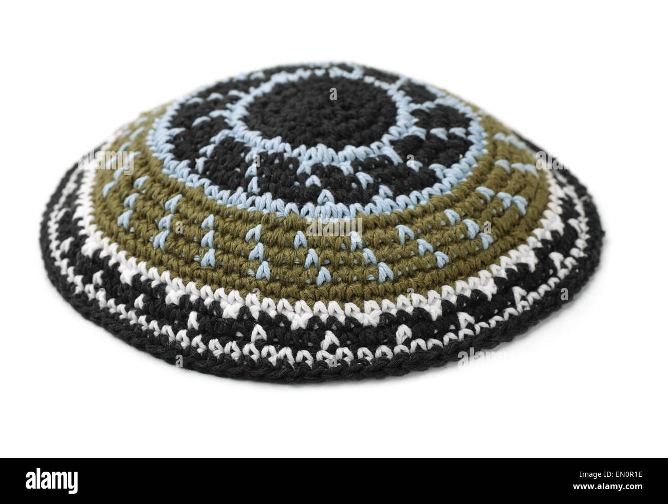 Kippah - traditional jewish headwear isolated on white - Stock Image